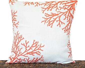 Orange Sea Coral Pillow Pumpkin White Coastal Beach Summer Repurposed Decorative 16x16