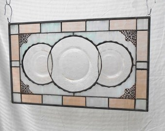 Pink Depression Glass Dogwood Plates Stained Glass Panel, Antique Stained Glass Window Transom, 1930s Glass Window Valance, OOAK Home Decor