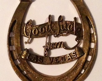 Vintage 50s Lucky Horseshoe Good Luck From Las Vegas metal rockabilly vlv