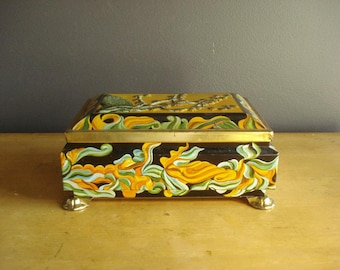 Large Vintage Tea Tin - Tin Jewelry Box - Black, Orange, Green, Gold - Made in Western Germany - West Germany
