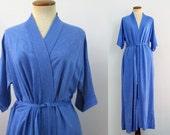 1970s Robe Kimono Style Bathrobe High Waist Wrap Retro Royal Blue Short Sleeve Women's Loungewear Vintage 70s Hipster PJs Soft S M L