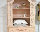 Painted Cottage Chic Shabby Pink Romantic French China Cabinet CC669