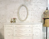Painted Cottage Chic Shabby White Romantic French Server/ Buffet SV607