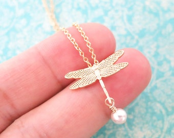 Dragonfly - Silver Dragonfly with pearl drop Necklace, Nature Woodland Wedding Jewelry, Bridal Bridesmaid Necklace, Garden Weddings