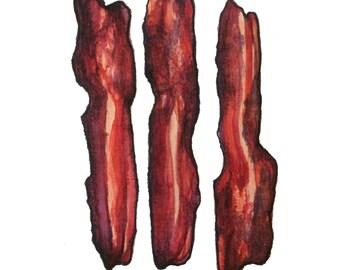 minimalist watercolor print: Bacon