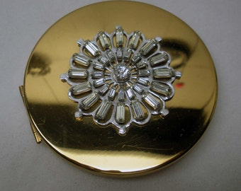 Vintage Jeweled Elgin American Compact Mid Centruy Chic