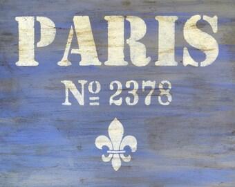 Paris Art, Paris Sign Painting, Purple Art, Cottage Home Decor, Original Painting, Acrylic Painting, Rustic Wall Decor,  16x20 Canvas