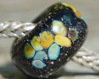 SALE - Unique Silver Glass Handmade Lampwork Glass European Charm Bead - SRA - fits all charm bracelets -Silver Core Options