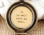 It is well with my soul locket - Faith Locket, Christian Jewlery, Christian Necklace, Baptism, Dedication, Hope, Encouragement, Get Well