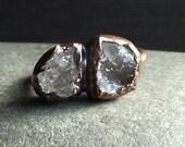 Druzy Quartz Raw Crystal Ring Rough Stone Jewelry Size 6.5 Copper Raw Stone Ring Midwest Alchemy