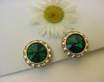 Vintage Emerald Green Rivoli Rhinestone Crystal Clip On Earrings