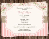 Baby Shower Invitations, Girl, Floral, Pink, Sprinkle, Vintage, Shabby, Chic, 10 Printed Cards, FREE Shipping, Customizable, Simple, Cottage