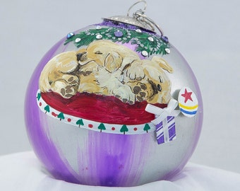 Hand Painted Ornament-Three Puppy Labs W/ 3D-Item 2019