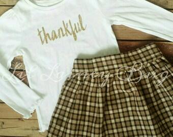 Thanksgiving Outfit- Thankful -Baby Toddler Girls Skirt Set- Gold Sparkly Shirt -Vintage Brown Plaid High Waist Skater Skirt- Turkey Day