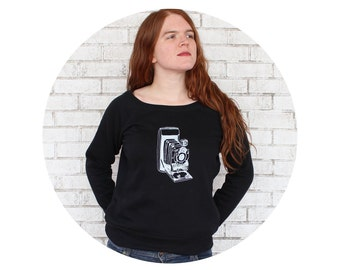 Vintage Camera Ladies French Terry Sweatshirt, Long Sleeved Scoopneck Shirt, Black and White Accordion Camera with Bellows Photographer Gift