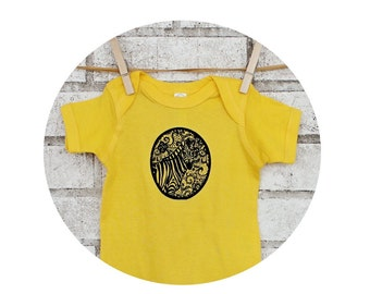Zebra Baby Onepiece, Camouflaged Zebra and Lace Design, Lemon Yellow and Black, One Piece Bodysuit, Cotton Infant Shirt, Screen-Printed Top
