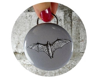 Halloween bat Bottle Opener OR Pinback Button , Key chain, in gray or custom colors, Bats Flying, Hand Pressed, Badge, Backpack Flair