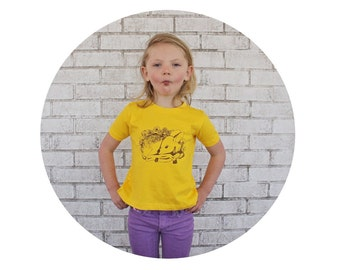 Fawn Hand Printed Graphic Tee Shirt in Lemon Yellow, Cotton Crewneck Tshirt, Short Sleeved, Deer, Woodland Animal, Nature Inspired, Toddler