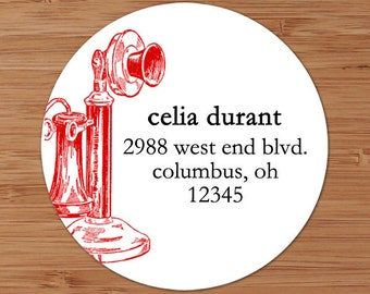 Vintage Candlestick Telephone  Custom Address Labels or Stickers