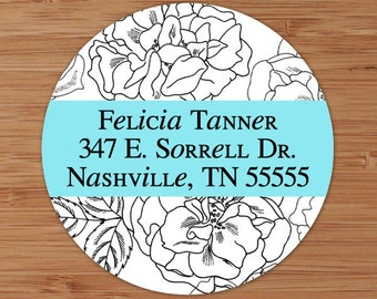 Floral Outline Custom Personalized Address Labels or Stickers