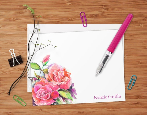 Pink Roses - Set of 8 CUSTOM Personalized Flat Note Cards/ Stationery