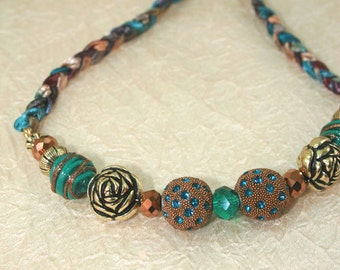 Chunky Bead Statement Bib Necklace, Big Bead Braided Necklace, Aqua Brown and Gold Large Beaded Necklace