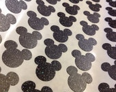 Black Glitter Mickey Mouse Stickers 30 pc Baby Shower Birthday