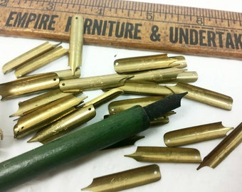 1920s School Supplies Ruler Quill and 14kt Nibs Box
