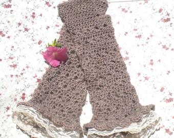 Alpaca Fingerless Gloves Fawn Hand Spun Alpaca Wool Tea Length Lace Trim