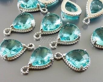 2 Aquamarine blue glass stone pendants with silver rope rim / charming pendants with rhodium frame 5054R-AQ