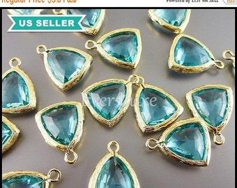 15% OFF 2 aqua blue / aquamarine blue triangle shaped glass charms, sea glass beads, gold glass pendants 5076G-AQ