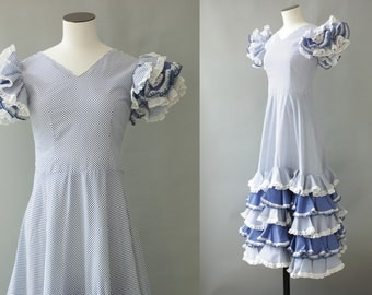 Carmen dress   Blue and white polka dots ruffle spanish dress   1970's by Cubevintage   small