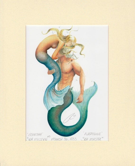 "Mermaid Martha & Merman Neptune Art Signed Robert Kline 8"" x 10"" Matted Merfolk Print Nautical Beach House Fantasy Home Decor Collectible"