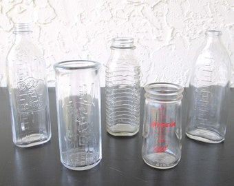 Vintage Glass Baby Bottle- Buy One or All! Hygeia, Stork
