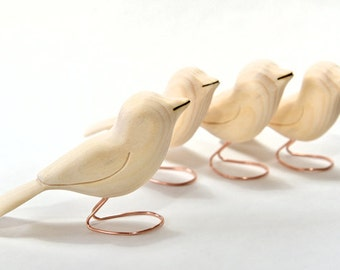 4 Unfinished Wood Bird Carvings Wooden Birds Valentine Craft Supply Woodworking Wood Sculpture