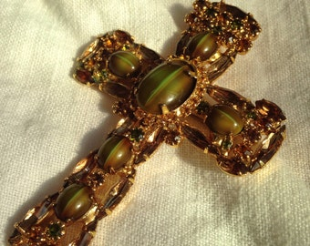 Juliana Cross Brooch Pendant in Olivine Green Rhinestone Art Glass