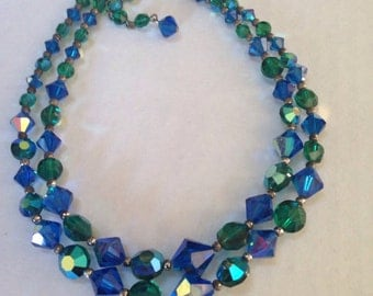 Double Strand Blue Green Glass Bead Necklace Aurora Borealis