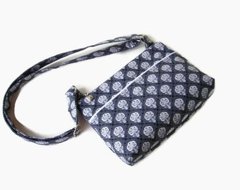 Gray Small Zippered Crossbody Purse - Grey Messenger Bag - Small Handbag - Zipper Closure - Cross Body Bag - Outside Pockets