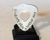 Couldn't pick a better dad sterling silver guitar pick with heart cut out for a special daddy - solid GP339
