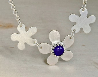 Multi Flower Sterling Silver Necklace with Blue Lapiz or Personalized Birthstones and Gemstones - NL037
