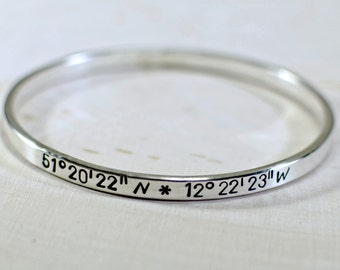 Latitude Longitude Personalized Bangle Custom Crafted in Solid 925 Sterling Silver