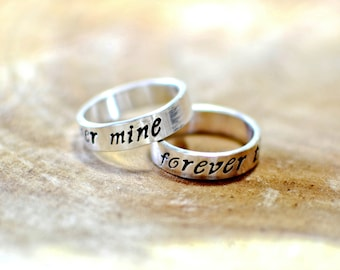 Forever mine forever thine sterling silver ring set or weddings bands - Solid 925 with Handstamping - RG181
