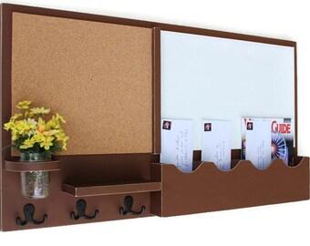Mail Organizer - Cork Board - White Board - Message Center - Coat Rack - Mason Jar - Wood