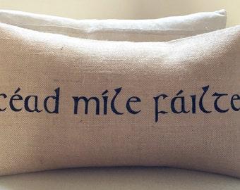 READY TO SHIP Irish Ireland céad míle fáilte welcome burlap pillow hessian cushion cover - black