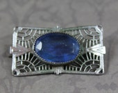 Vintage Baby Blue Faceted Glass Silver Filigree Bar Brooch