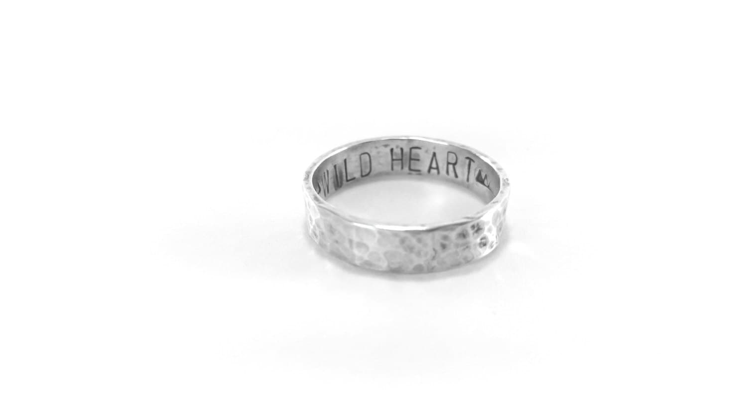 personalized mens ring sterling silver rustic band solid