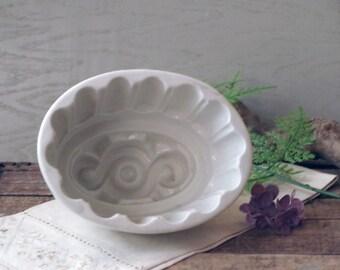 Antique White Ironstone Mold - 1800s English Stoneware / Ironstone Jelly Pudding Mold