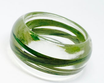 Size Large Wild Grass Resin Jewelry.  Botanical Resin Bracelet. Personalized with Engraving. Holiday 2015 Collection