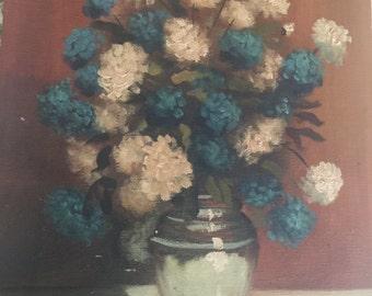 "Vintage Floral Painting Artist Signed Wayne 9"" x 12"""