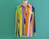 vintage 70's striped multi color blouse // striped top